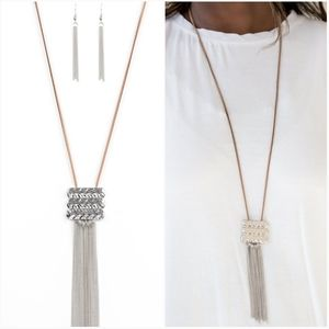 ALL ABOUT ALTITUDE BROWN NECKLACE/EARRING SET